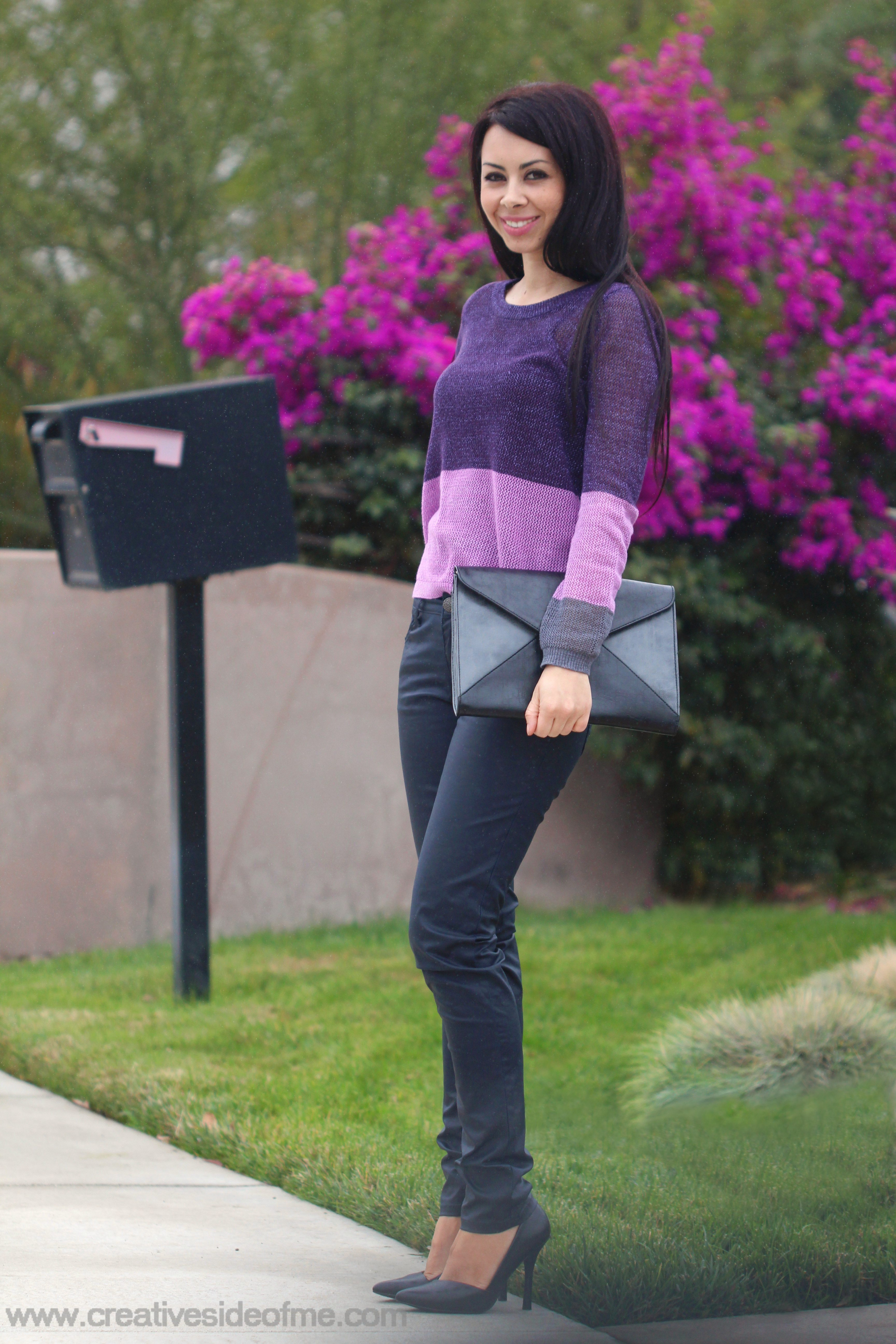 Purple monochromatic outfit
